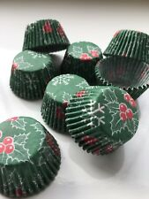 Pack Of 100 CHRISTMAS MINI MUFFIN PETIT FOUR CASES SWEETS Sugarcraft FESTIVE