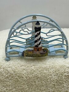 Lighthouse napkin holder painted metal & resin