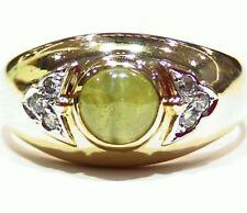 2.97CT 14K Gold Natural Diamond Cats Eye Chrysoberyl Anniversary Engagement Ring