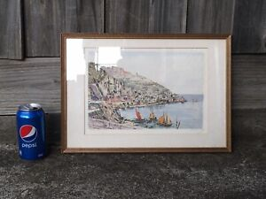 VINTAGE 1970s N LECCY *AMALFI* ITALY FRAMED & SIGNED ART PRINT (PICK UP~3083)