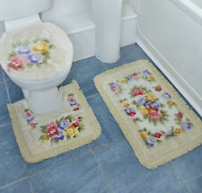 3 Piece  Traditional  Non Slip Bath & Pedestal Bathroom Mat Set & Toilet Cover
