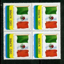 Brazil Stamp:1974 Visit of President Alvarez of Mexico, Block of 4, MNH, CV=$25