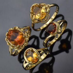 Lot of 4 14K Yellow Gold Citrine & Diamond Band Rings 8.4 Grams