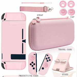 For Nintendo Switch Pink Travel Pouch With Console Stand Case Protection Cover