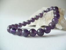 Bracelet en perles d'améthyste 8mm sur élastique - bleu violet pierre fine