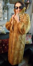 SALE Weasel Fur Coat Red/Ivory MINK A Line Style Size S-M