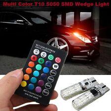 2Pcs Bulb Remote Control T10 5050 LED RGB Multi-color Car Wedge Side Light