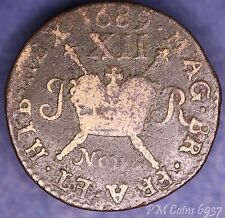 1689 November James II Irish Ireland Shilling Large Gunmoney coin *[6937]