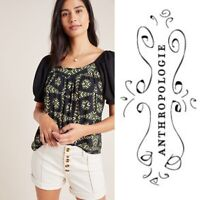 ANTHROPOLOGIE Maeve Catania Top Womens S Black Green Mixed Print $78 Blouse Boho