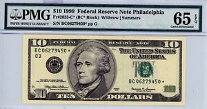 $10 1999 Federal Reserve Note Philadelphia  Fr#2033-C* (BC* Block)  PMG 65 EPQ