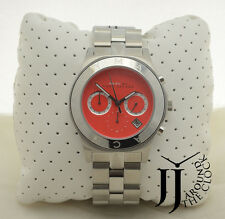 NEW MARC BY MARC JACOBS BLADE SILVER TONE RED DIAL WATCH MBM3306 40MM