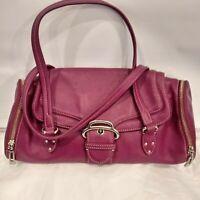 COLE HAAN  Alexa Bag Berry Pink Leather Shoulder Purse Handbag Foldover Top