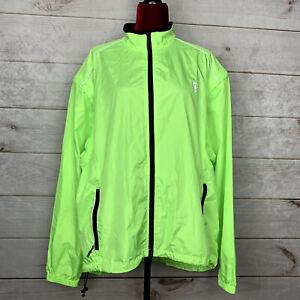 CANARI Men's Neon Full Zip Cycling Windbreaker Jacket Size 2XL Reflective Trim