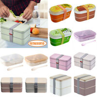 Portable Student 2 Layers Lunch Box  Bento Portable Food Picnic Container Case