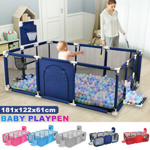 12 Panels Baby Playpen Play Mat Interactive Safety Gate Slide Toddler Fence Game