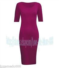 Summer Short Sleeve Wear to Work Casual Sheath Fit Long Bodycon Midi Dresses (M)