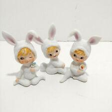 """Vtg Lefton Girl Easter Bunnies Set of 3 Figurines #799 2.5"""" - 3""""H"""