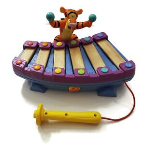 Disney Dancing Tigger Wood Xylophone Electronic Interactive Music Toy VTG 2001