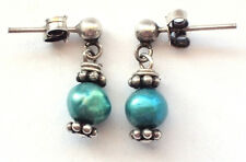 Stunning 925 Sterling Silver Ear Rings Art Nouveau Dangling Turquoise Drop Stud