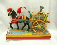 Vintage Italian Peasant Colorful Horse & Cart With Driver & 2 Passengers