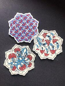 Coasters Set Of 3 - Ceramic - Hand Painted - Ethnic Designs - Decorative