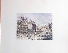 Vue d'une Maison du Faubourg par CANALETTO (1697-1768) Dessin Rehaussé Imprimé