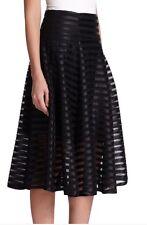 Nanette Lepore Black Transparency Flare Skirt Size 6 NWT $298