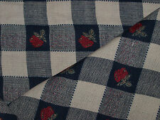 Navy Red & Camel Cotton Dobby Check  Fabric-113cm x 52cm end piece