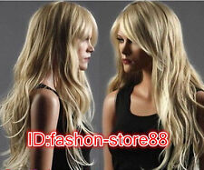 Long Western Womens Wig Like Real Natural Hair Wave Curly Blonde Wig Wigs A117
