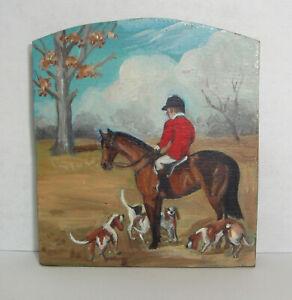 80's Peggy B. Mills Dollhouse 1:12 Hand Painted Fox Hunt Firescreen Fire Screen