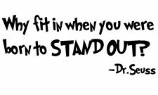 "DR. SEUSS VINYL wall art quote ""BORN TO STAND OUT"" border decal KIDS ROOM DECOR"