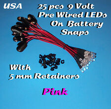 25 PRE WIRED 5MM LEDs 9 VOLT PINK LED ON BATTERY SNAP 9V PREWIRED (Halloween)