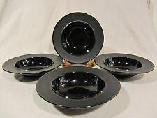 Sasaki ANELLO BLACK Rimmed Soup/Salad Bowls - Set of 4