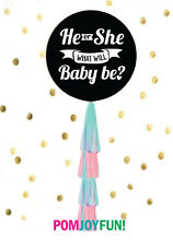 """Gender Reveal Balloon with Tassels! He or She What Will Baby Be? 36"""" Black"""