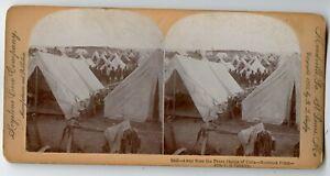 10th U.S. Cavalry , Military Camp Montauk Point N.Y. Vintage Photo Stereoview