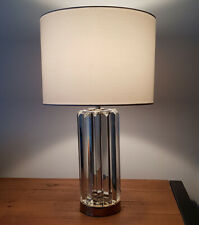 Modern Glass Base Table Lamp With White/Ivory Lamp Shade Stunning For the Home