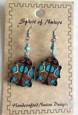 Spirit of Nature Earrings Ladybug shaped- beads brown green orange