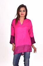 Indian Women's Rayon Pashmina Long Kurti Check Print Frock Suit Pink Color Tunic