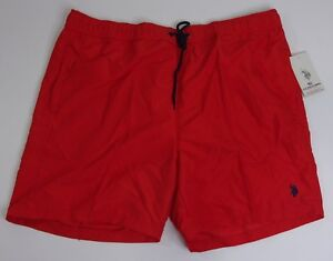 US POLO ASSN. Men Size BIG 2XL Red Lined Swimming Trunks Shorts NEW w Tags