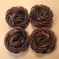 Vtg Lot 4 LARGE Textured Plastic Swirl Shank Buttons Dusty Purple Plum Hue Coat