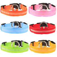 Nylon LED Pet Dog Collar Night Safety Flashing Glow In The Dark Dogs Neck Leash