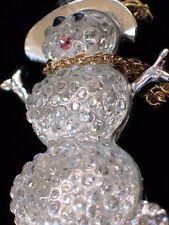 "ELEGANT CLEAR RESIN FAT SASSY SNOWMAN SNOW LADY PIN BROOCH JEWELRY DANGLE 1.75"""