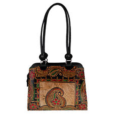Real Leather Batik Paisley Indian Shantiniketan Shoulder Bag Handmade Painted