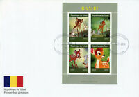 Chad 2019 FDC Bambi 4v M/S Cover Rabbits Deer Disney Cartoons Animation Stamps