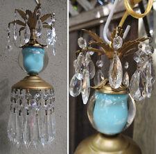 1of4 Vintage Turquoise aqua blue glass globe tole Brass lamp lantern chandelier