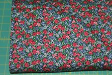 100 % Cotton fabric ~ Navy with red, mauve, blue, green flowers & leaves ~ BTY