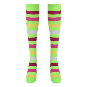 1 Pair Women Striped Middle Tube Socks Breathable Good Elastic for Dancing Gift