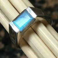 Natural Labradorite Gemstone with 925 Sterling Silver Signet Ring for Men's
