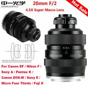 Zhongyi Mitakon 20mm f/2 4.5X Super Macro Lens for DSLR Canon Nikon Pentax Fuji