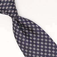 Andrews Ties Mens Silk Necktie Navy Blue White Geo Check Weave Woven Tie Italy